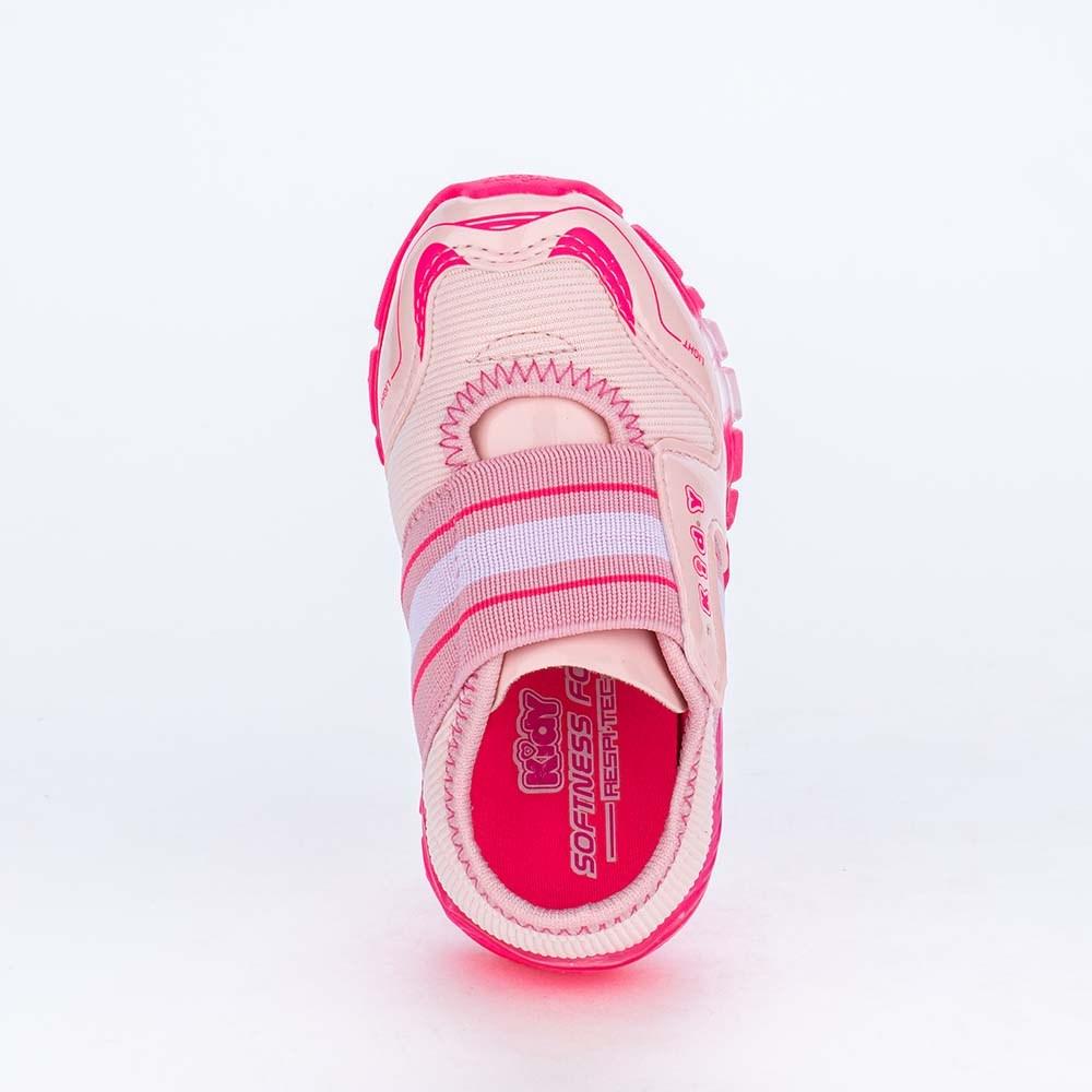Tênis de Led Infantil Feminino com Elástico Rosa e Pink Neon