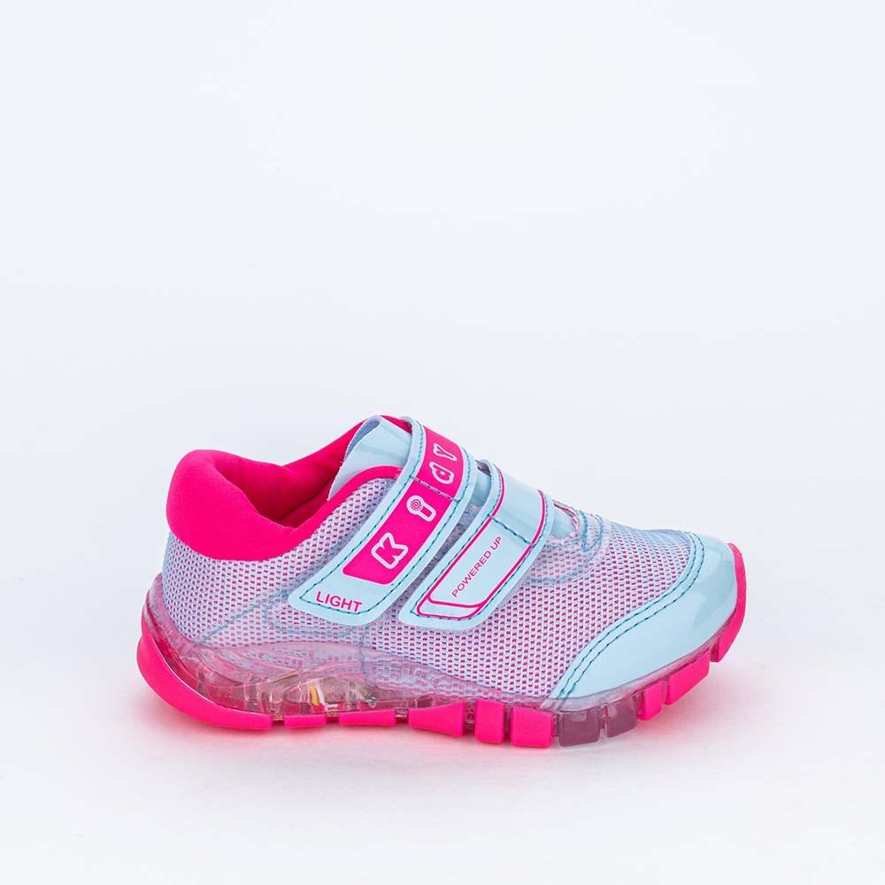 Tênis de Led Infantil Feminino Kidy Flex Light Azul e Pink