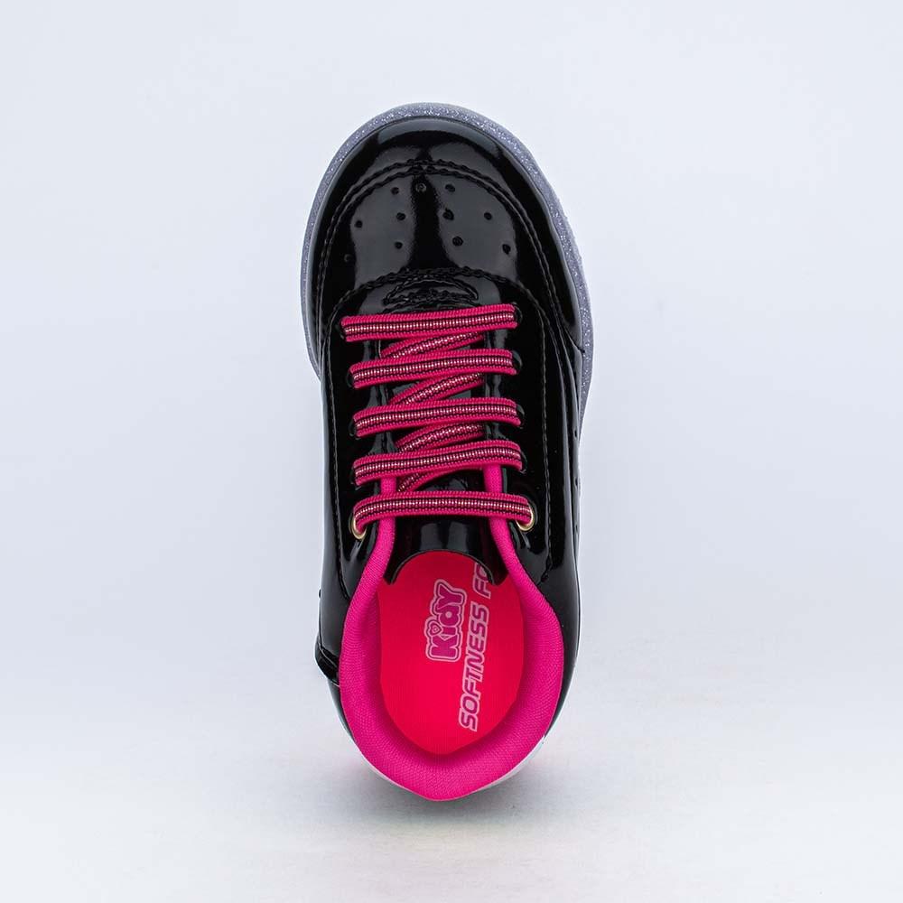 Tênis de Led Infantil Feminino Star Light Preto e Pink
