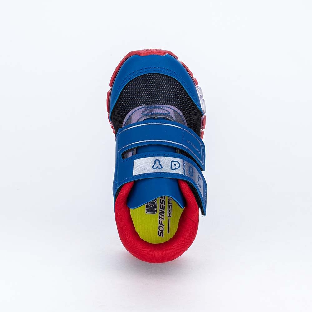 Tênis de Led Infantil Kidy Flex Light Azul Royal e Vermelho