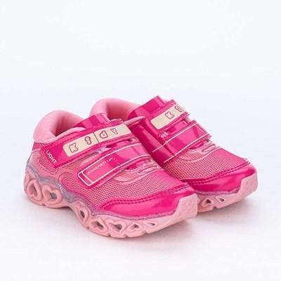Tênis de Led Infantil Kidy Light Fun Coração Girl Pink Rosa