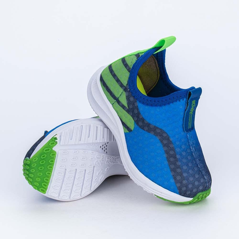 Tênis Esportivo Primeiros Passos Energy Azul e Verde Neon