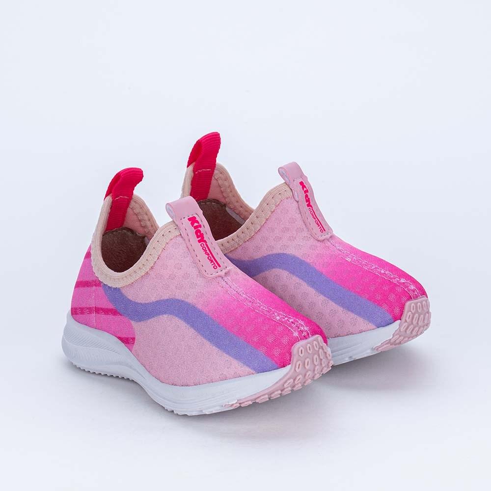 Tênis Esportivo Primeiros Passos Energy Pink, Rosa e Lilás