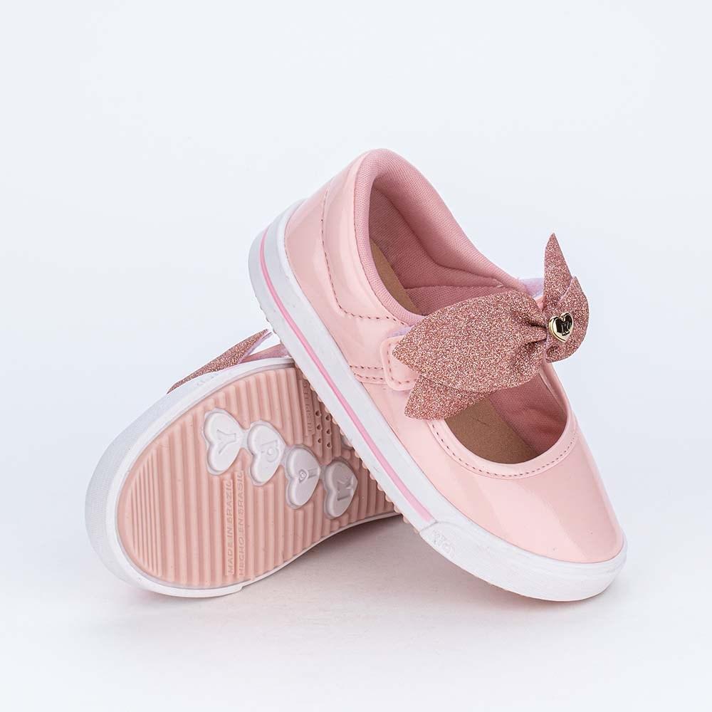 Tênis estilo Sapatilha Para Menina com Laço de Glitter Rosa