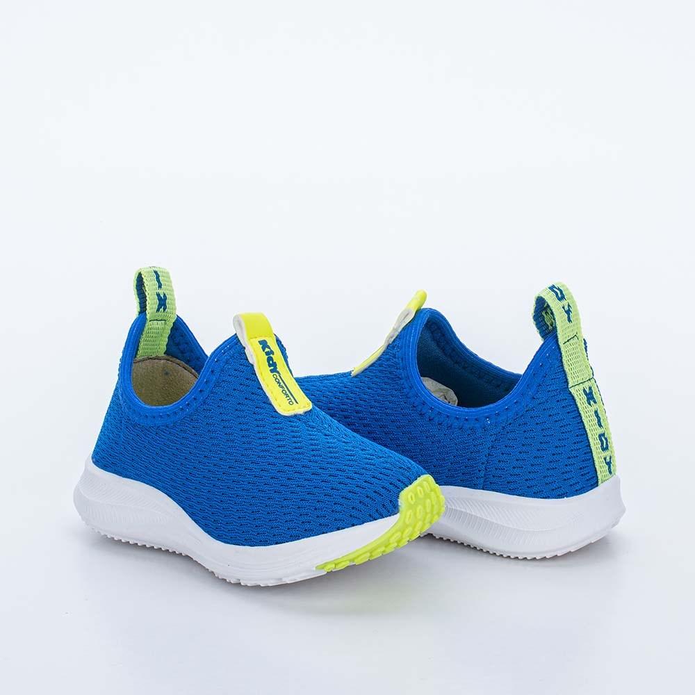 Tênis Infantil Calce Fácil Energy Baby Azul e Amarelo Neon