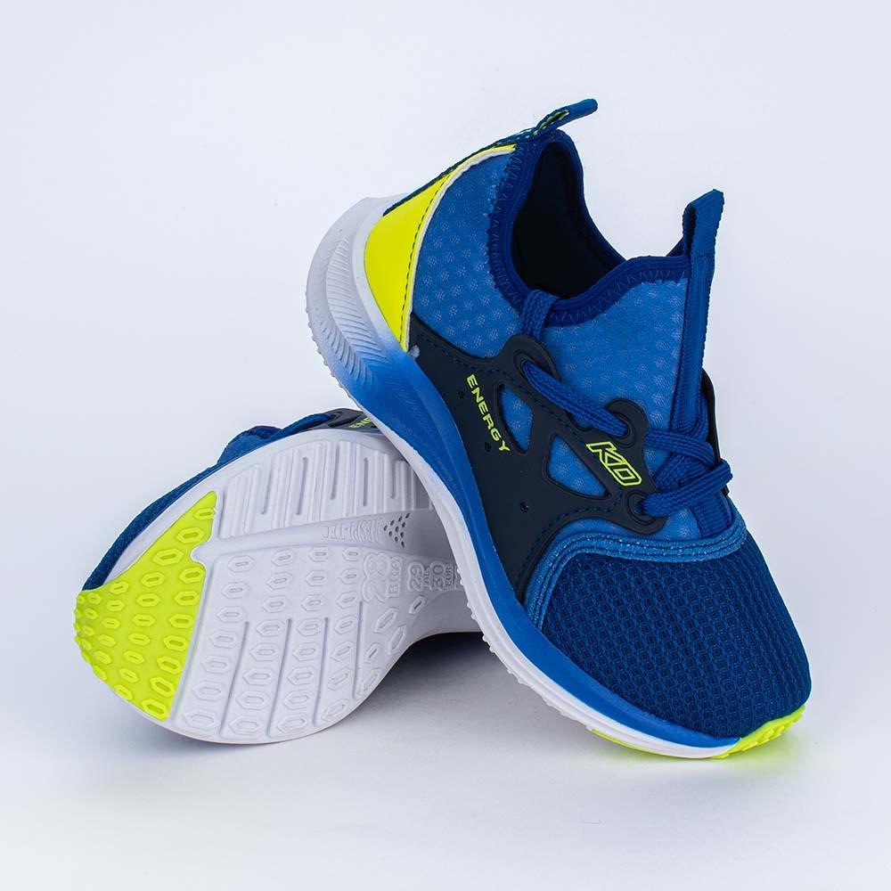Tênis Infantil Energy Esportivo Azul Royal e Amarelo Neon