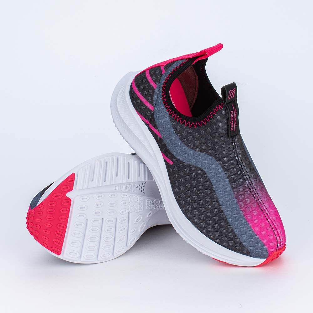 Tênis Infantil Esportivo Energy Calce Fácil Preto e Pink