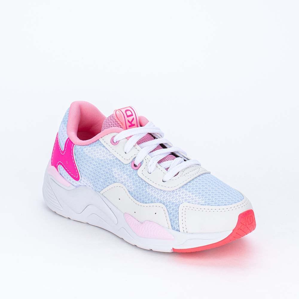 Tênis Infantil Esportivo Feminino Kidy Space Branco e Pink