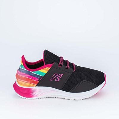 Tênis Infantil Esportivo Kidy Energy Preto e Estampa Rainbow