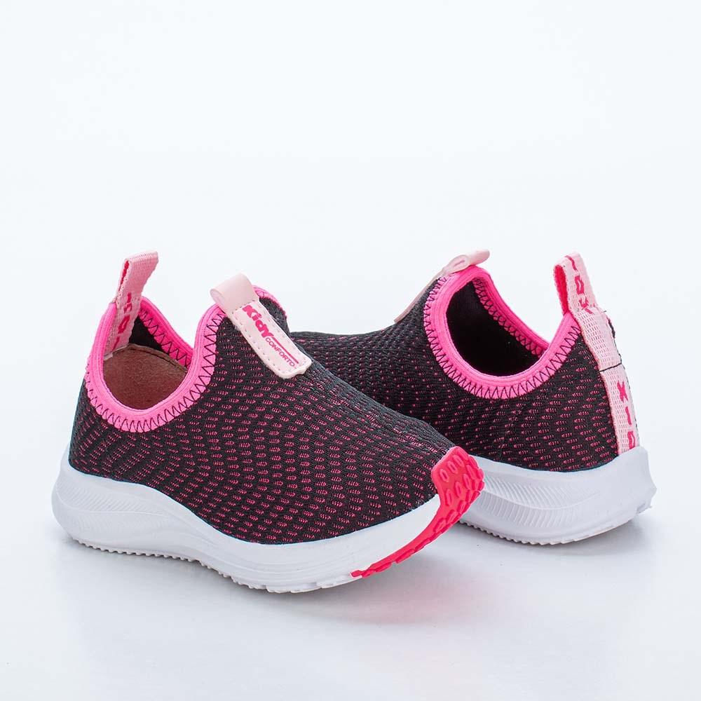 Tênis Infantil Feminino Kidy Energy Baby Preto, Pink e Laranja Neon