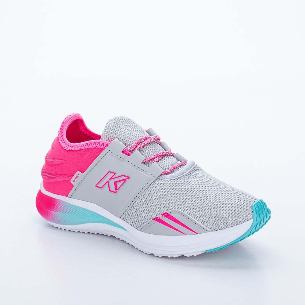 Tênis Infantil Feminino Kidy Energy Cinza, Pink e Verde Acqua