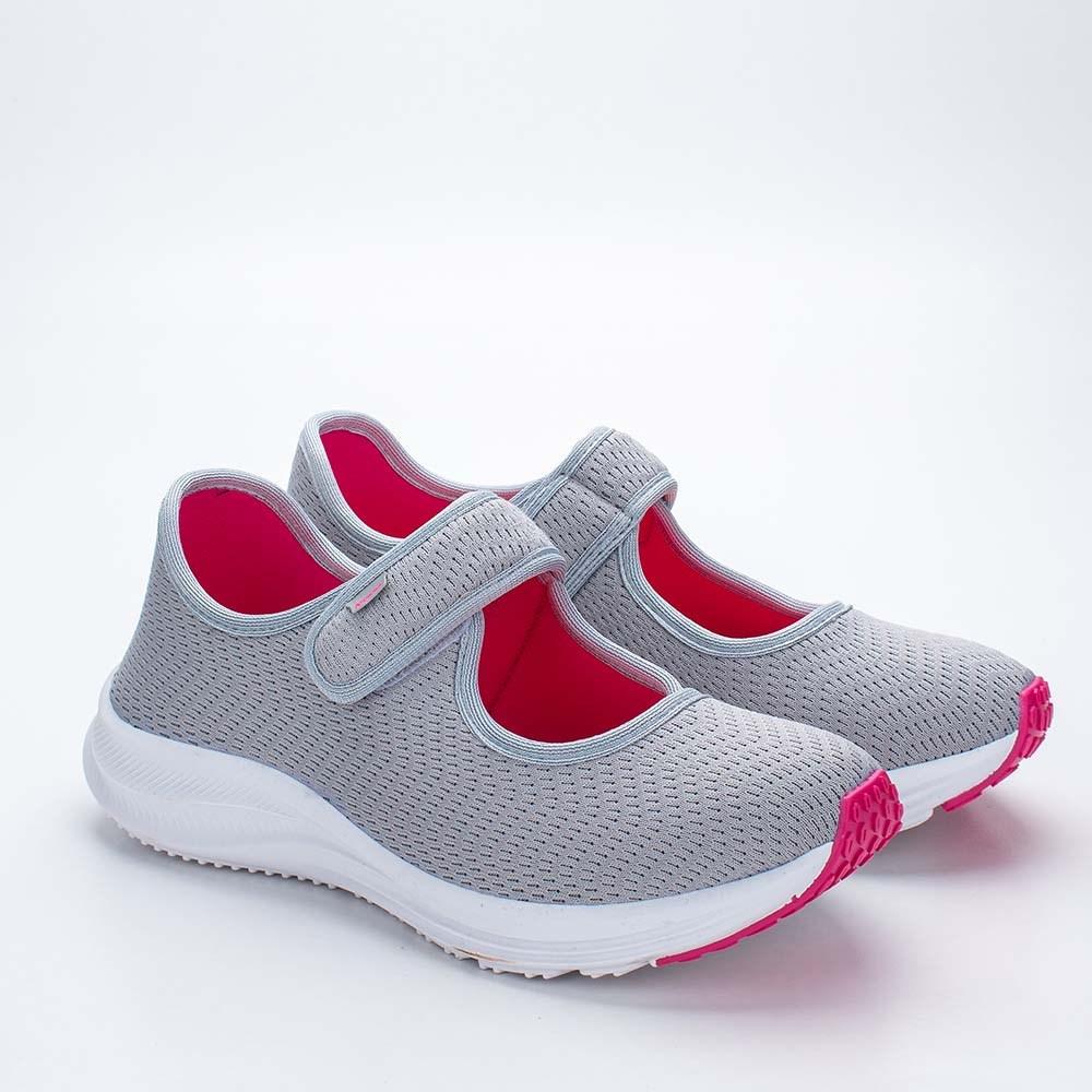 Tênis Infantil Feminino Kidy Energy Respitec Cinza e Pink