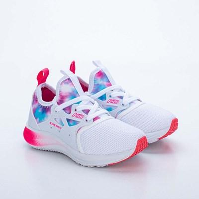 Tênis Infantil Feminino Kidy Energy Respitec Tie Dye Branco e Pink