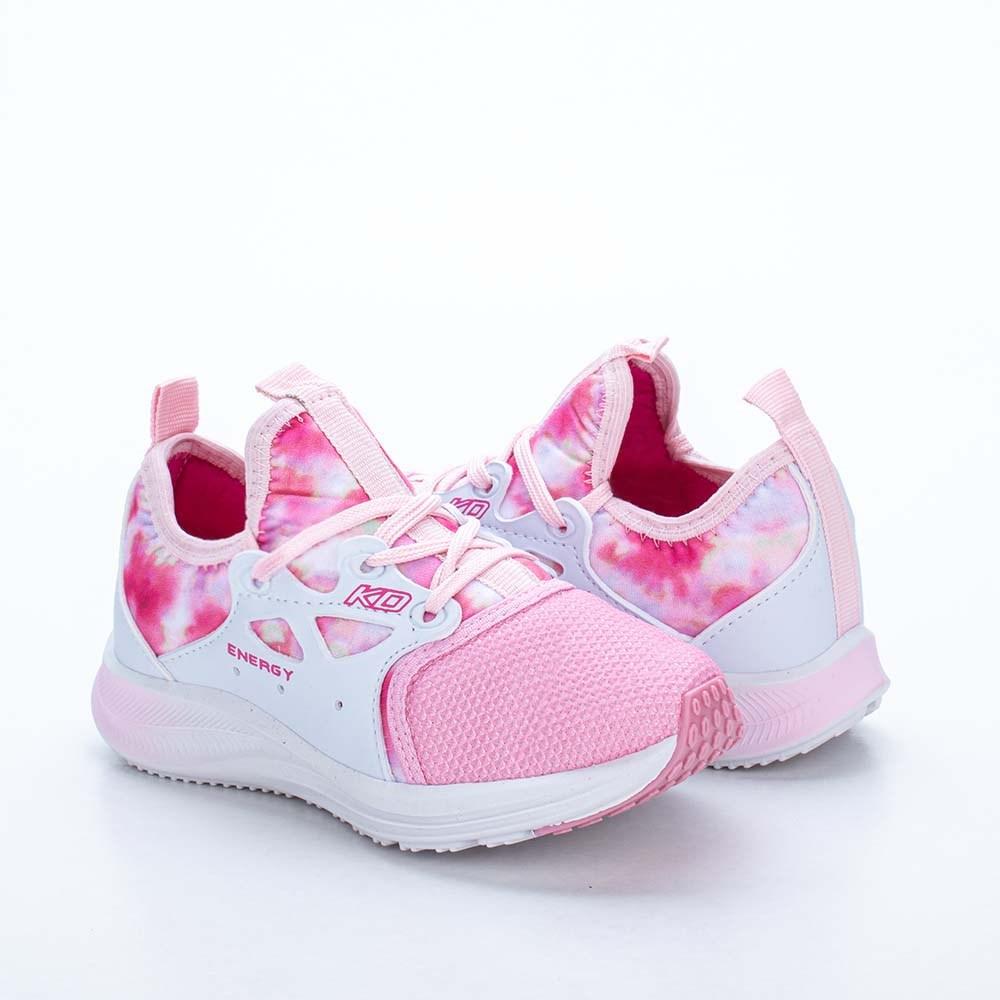 Tênis Infantil Feminino Kidy Energy Respitec Tie Dye Branco e Rosa