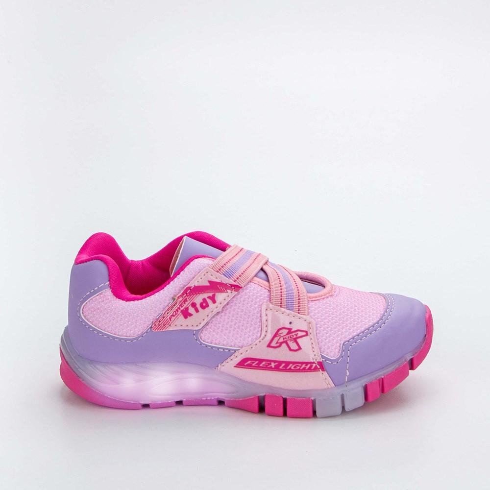 Tênis Infantil Feminino Kidy Flex Light Lilás e Nude e Pink