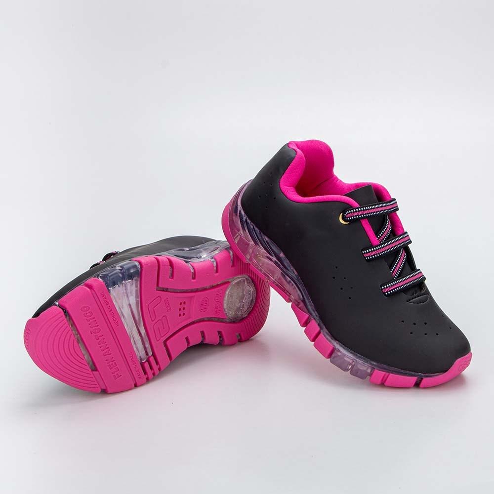 Tênis Infantil Feminino Kidy Flex Light Preto e Pink