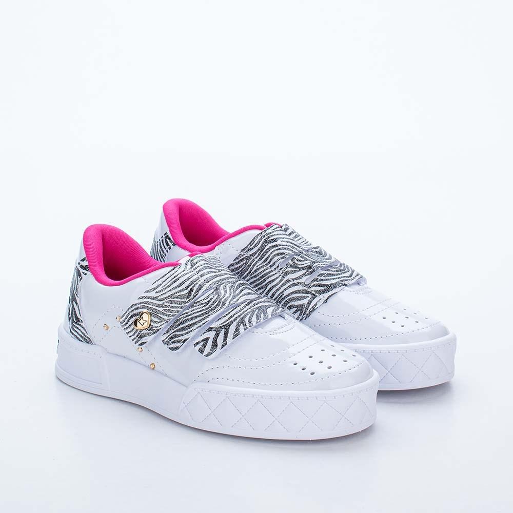 Tênis Infantil Feminino Kidy Hype Branco e Zebra