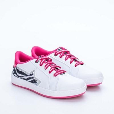 Tênis Infantil Feminino Kidy Hype Branco, Preto e Pink