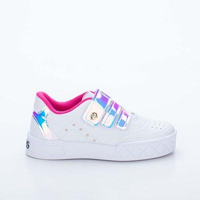 Tênis Infantil Feminino Kidy Hype Holográfico Branco