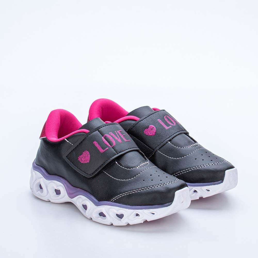 Tênis Infantil Feminino Kidy Light Girl Respi - Tec Preto e Pink