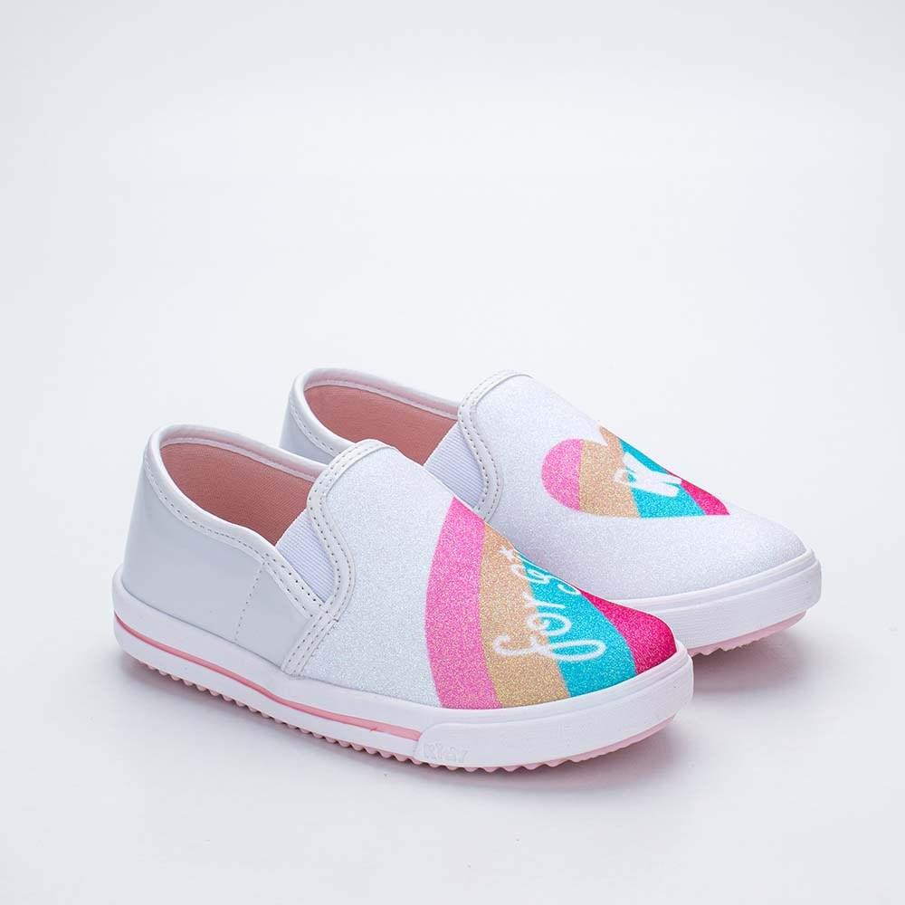 Tênis Infantil Feminino Kidy Love Baby Branco e Colorido