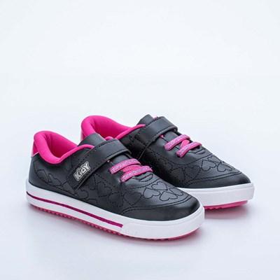 Tênis Infantil Feminino Kidy Love Baby Preto e Pink