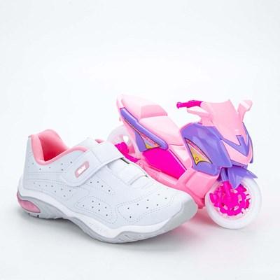 Tênis Infantil Feminino Kidy Play Respi-Tec Branco e Rosa  com brinquedo