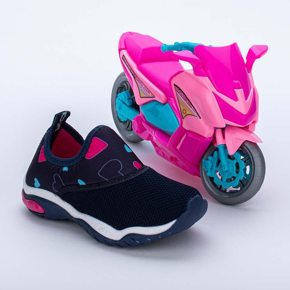 Tênis Infantil Feminino Kidy Play Respi-Tec Marinho, Pink e Acqua  com brinquedo