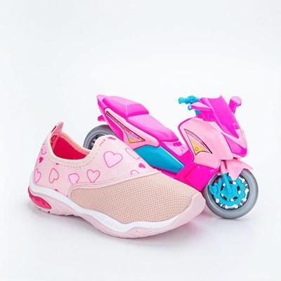 Tênis Infantil Feminino Kidy Play Respi-Tec Nude e Pink  com brinquedo
