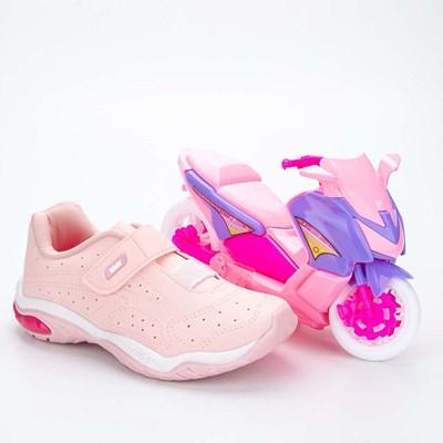 Tênis Infantil Feminino Kidy Play Respi-Tec Nude e Rosa e Blush  com brinquedo