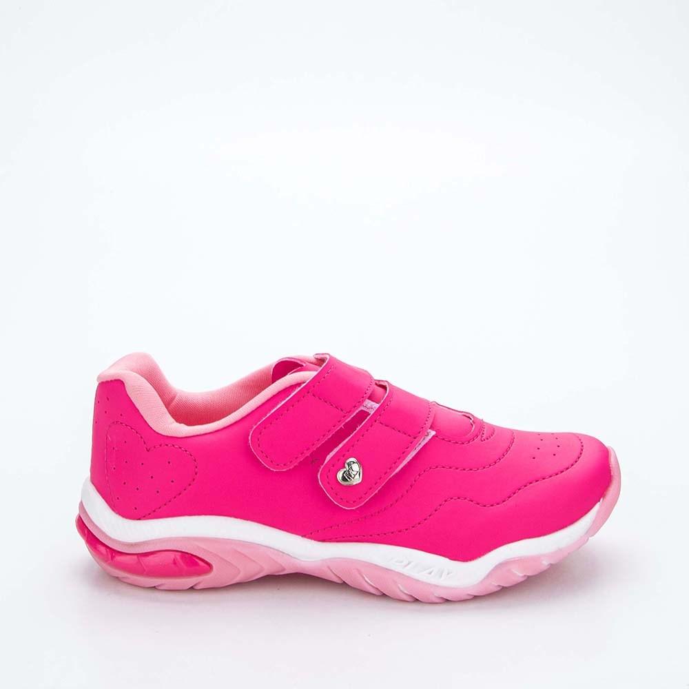 Tênis Infantil Feminino Kidy Play Respi-Tec Pink e Rosa  com brinquedo