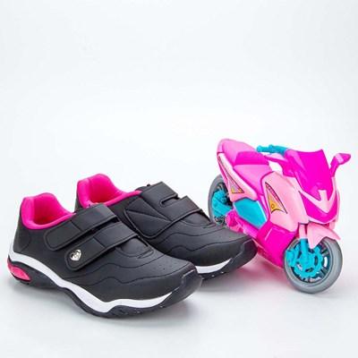 Tênis Infantil Feminino Kidy Play Respi-Tec Preto e Gloss  com brinquedo