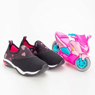 Tênis Infantil Feminino Kidy Play Respi-Tec Preto e Pink  com brinquedo