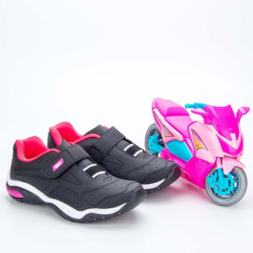 Tênis Infantil Feminino Kidy Play Respi-Tec Preto e Pink Neon  com brinquedo