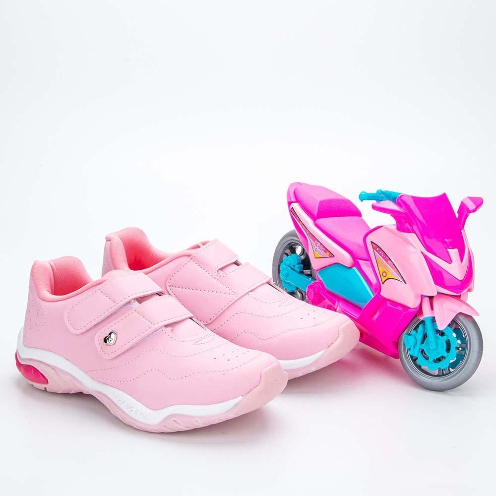Tênis Infantil Feminino Kidy Play Respi-Tec Rosa e Branco e Rosa  com brinquedo