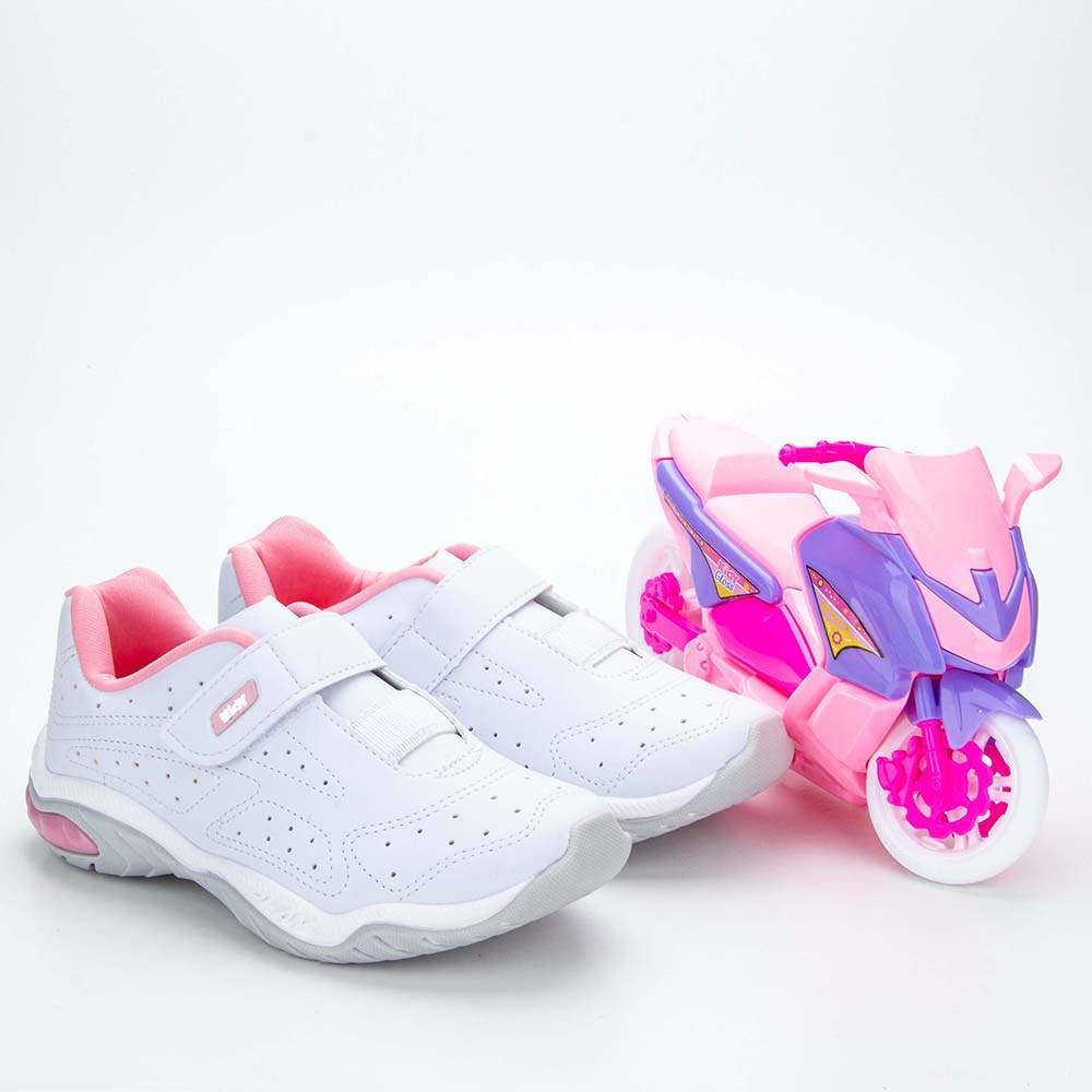 Tênis Infantil Feminino Kidy Play RespiTec Branco e Rosa  com brinquedo