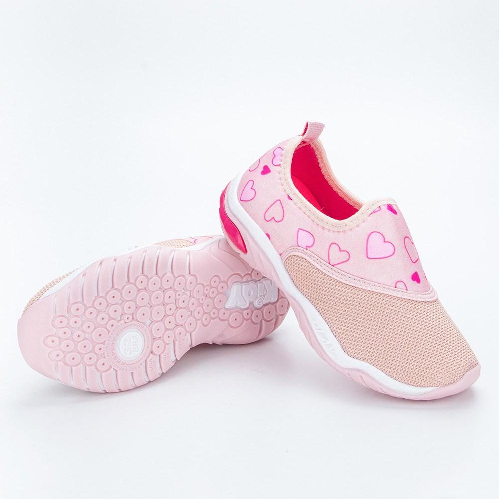 Tênis Infantil Feminino Kidy Play RespiTec Nude e Pink  com brinquedo