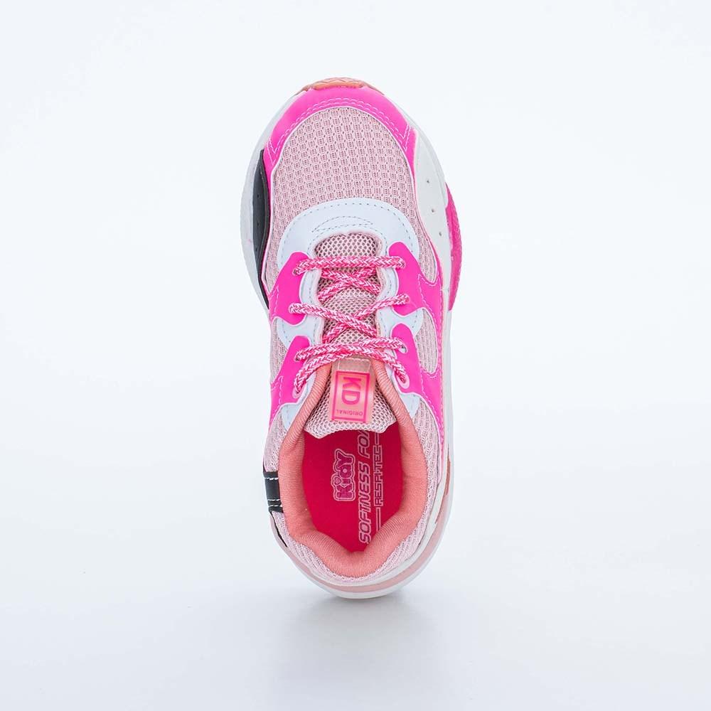 Tênis Infantil Feminino Kidy Space Branco, Nude e Pink Neon