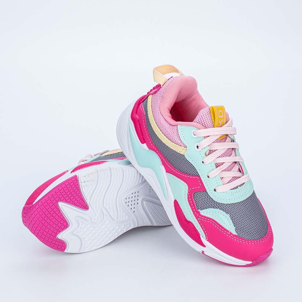 Tênis Infantil Feminino Kidy Space Rosa, Pink e Verde