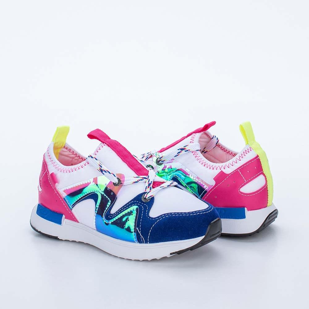 Tênis Infantil Feminino Kidy Up Branco e Azul e Pink