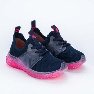 Tênis Infantil Feminino Sola Illusion Marinho e Pink Neon