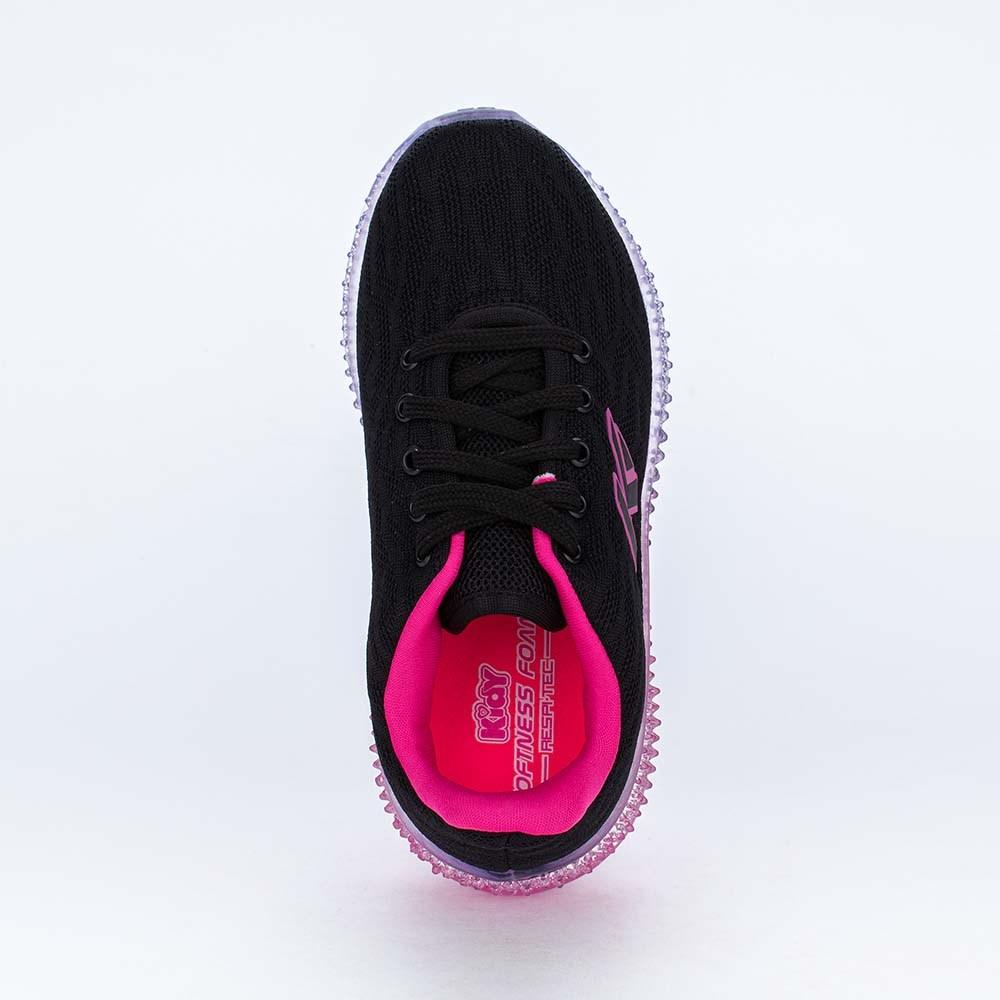 Tênis Infantil Feminino Sola Illusion Preto, Pink e Lilás