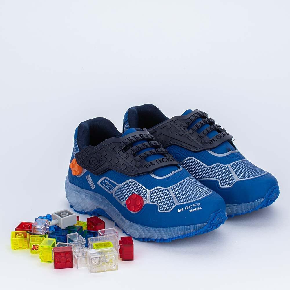 Tênis Infantil Kidy Blocks Azul com Peças de Montar e Game