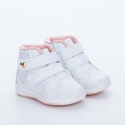 Tênis Infantil Kidy Colors Menina Branco e Prata