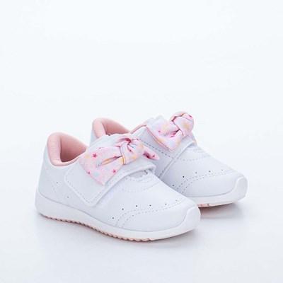 Tênis Infantil Kidy Colors Menina Branco e Rosa