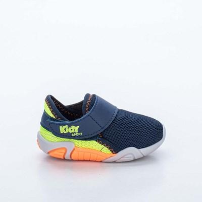 Tênis Infantil Kidy Colors Menino Marinho e Amarelo Neon