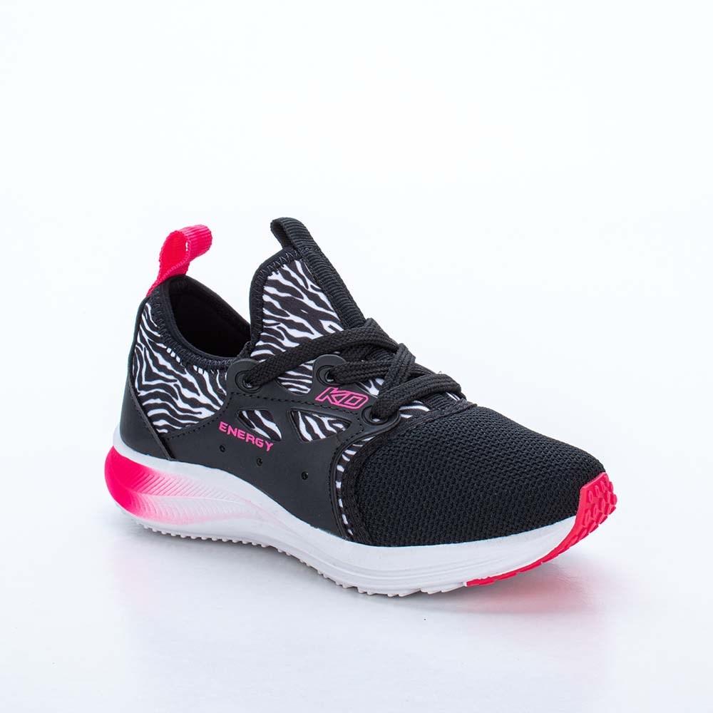 Tênis Infantil Kidy Energy Animal Print Zebra e Neon