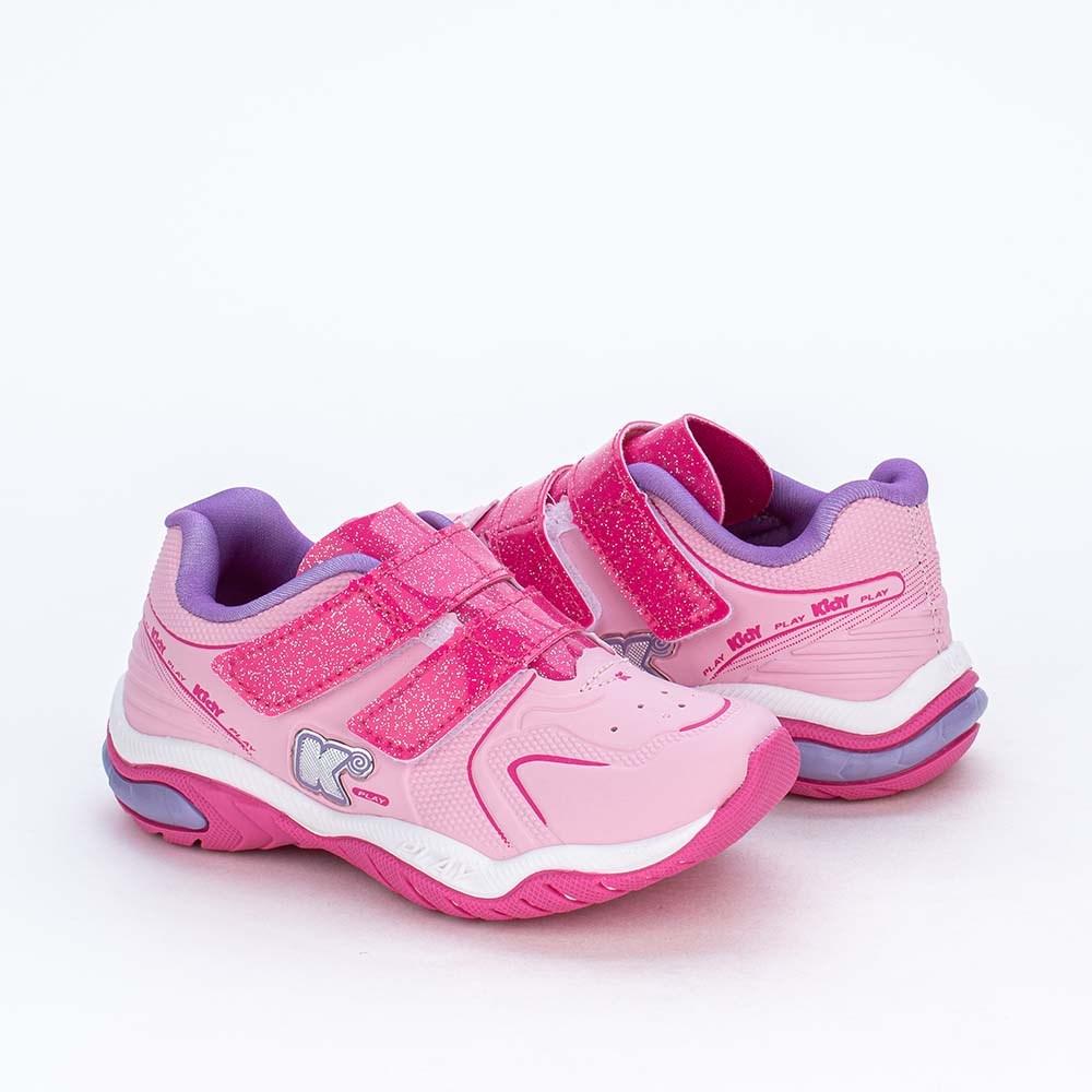 Tênis Infantil Kidy Play Calce Fácil Rosa e Pink Glitter