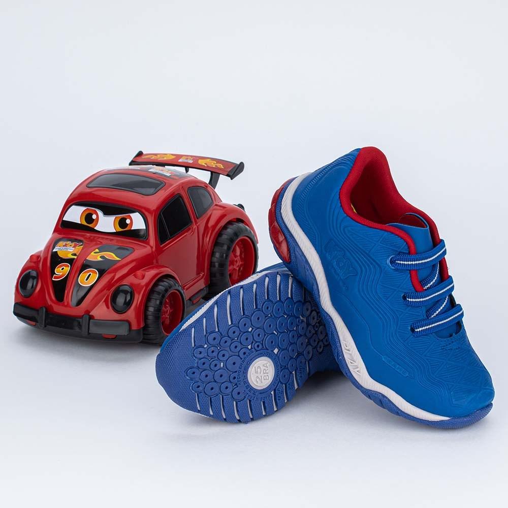 Tênis Infantil Kidy Play com Tiras Elásticas Azul e Vermelho