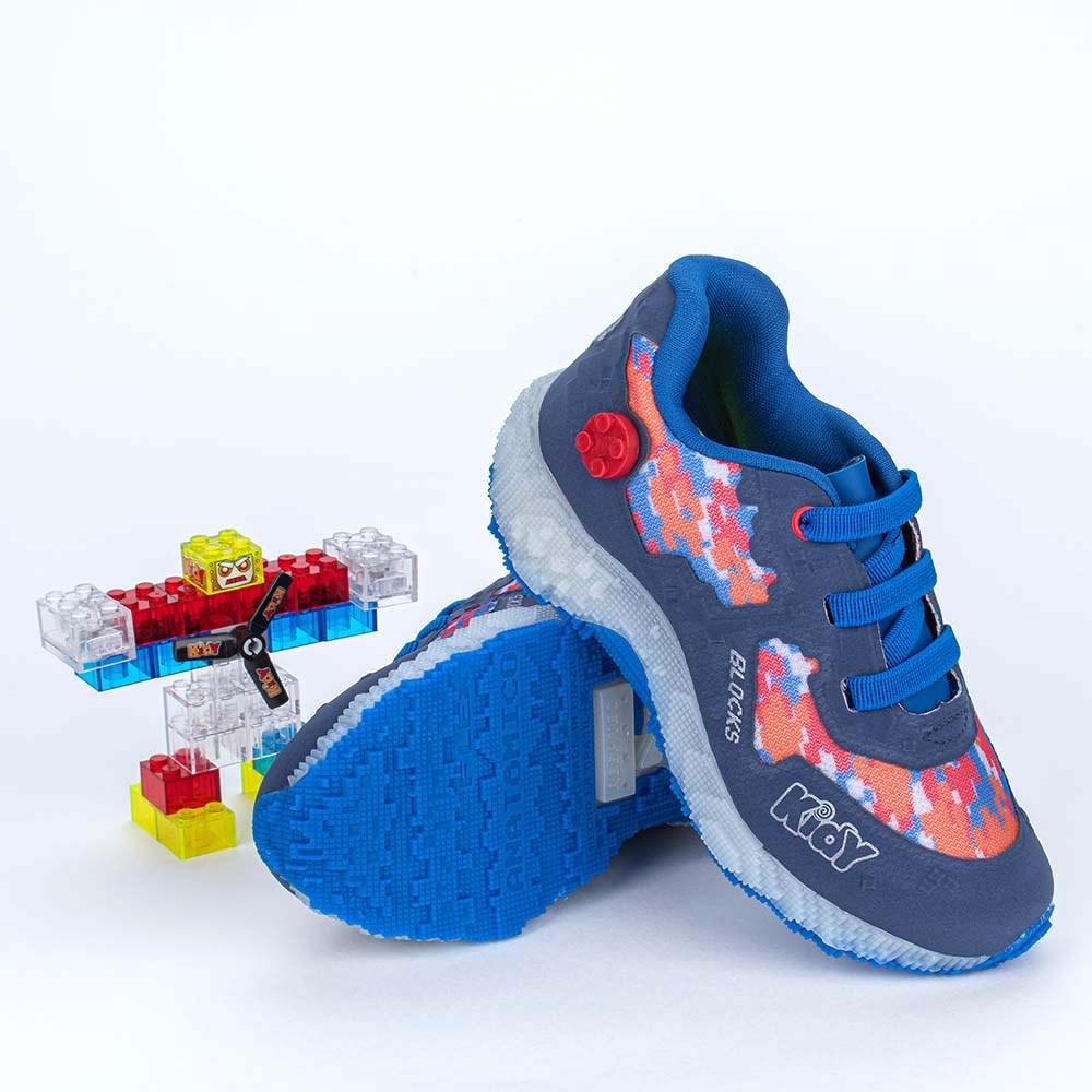 Tênis Infantil Masculino Blocks Azul, Laranja e Vermelho com brinquedo